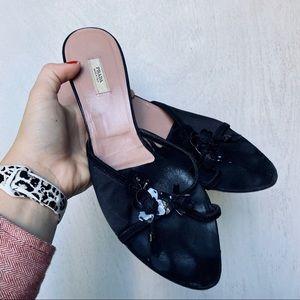 Prada Black Suede Satin Floral Sandals Kitten Heel